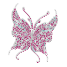 Hot Pink Rhinestone Butterfly Hot fix Pattern