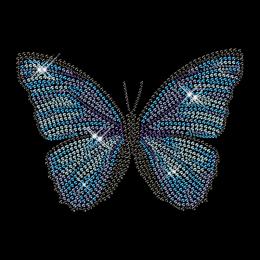 Custom Best Sparkling Blue Butterfly Korean Rhinestone Iron on Transfer Design for Shirts