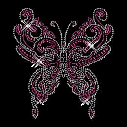 Custom Best Sparkling Pink Butterfly Korean Rhinestone Iron on Transfer Design for Shirts
