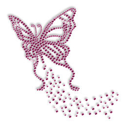 Custom Best Sparkling Pure Pink Romantic Butterfly Diamante Iron on Transfer Design for Shirts