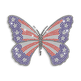 Bling Butterfly with American Flag Design Rhinestone Iron On