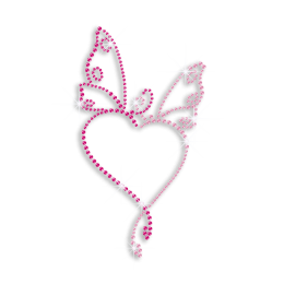 Pink Butterfly with Heart Shape Iron-on Rhinestone Transfer