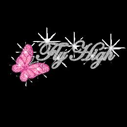 Pretty Butterflies Fly High Glitter Rhinestud Iron on Transfer Motif