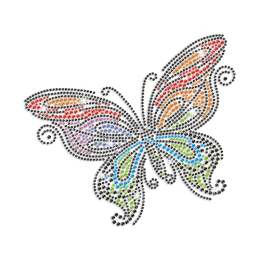 Big Butterfly Motif Iron-on Rhinestone Transfer