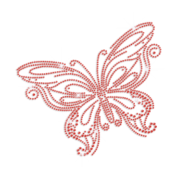Pretty Red Butterfly Iron-on Rhinestone Transfer
