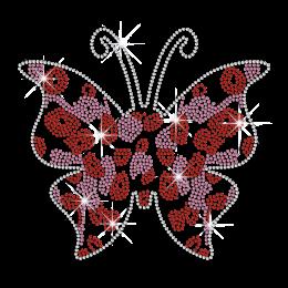 Fashionable Poppy Flower on Butterfly Rhinestone Transfer