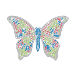 Bling Colorful Butterfly Hotfix Rhinestone Transfer