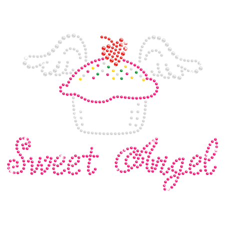 Sweet Cupcake Angel Rhinestone Motif