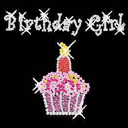 Colorful Birthday Girl Rhinestone Motif