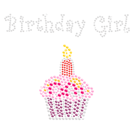 Colorful Birthday Girl Rhinestone Motif