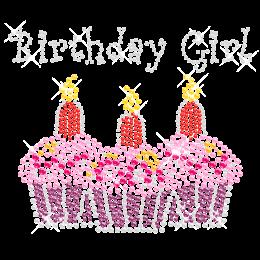 Rhinestone Three Cupcake Birthday Hot-fix Image