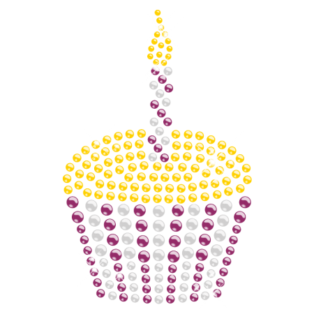 Hot-fix Purple Mixed with Crystal and Yellow Rhinestone Motif