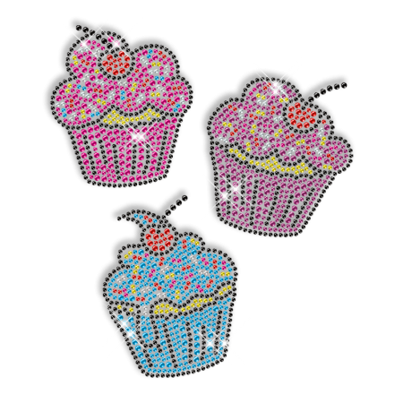 Shining Rhinestud Iron on Colorful Cake Transfer Design for Clothes