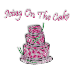 Sparkling Rhinestone Pink Cake Iron on Transfer Design for Shirts