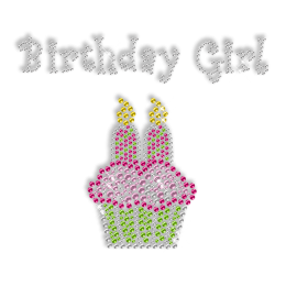 Sparkling Rhinestone and Rhinestud Birthday Girl Cake Iron on Transfer Design for Clothes