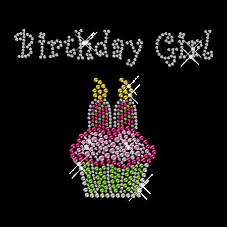 Sparkling Rhinestone and Rhinestud Birthday Girl Cake Iron on Transfer Design for Clothes