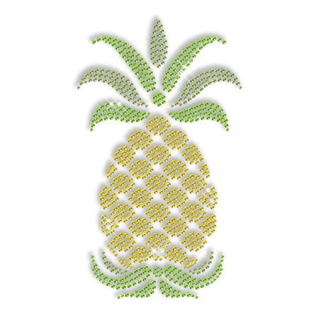 Sparkling Rhinestone Pineapple Iron on Transfer Motif for Clothes