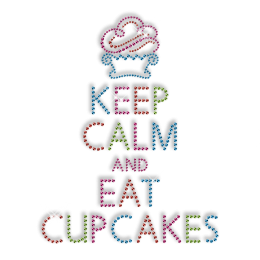 Custom Cute Sparkling Keep Calm and Eat Cupcakes Diamante Iron on Transfer Design for Shirts