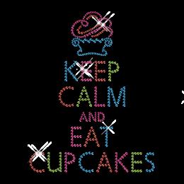 Custom Cute Sparkling Keep Calm and Eat Cupcakes Diamante Iron on Transfer Design for Shirts