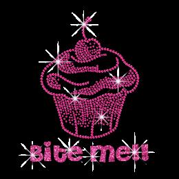 Pink Cupcake Bite Me Heat Press Neon Stud Iron-on Transfer