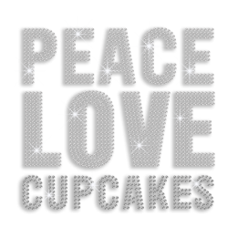 Crystal Peace Love Cupcake Hotfix Iron-on Rhinestone Transfer