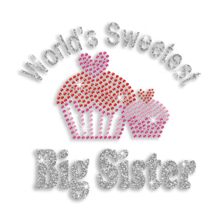 World's Sweetest Big Sister Cupcakes Rhinestone Iron ons