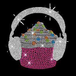 Colorful Cupcake Listen to Music Iron-on Rhinestone Transfer
