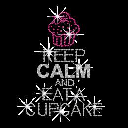 Bling Keep Calm and Eat A Cupcake Iron-on Glitter Rhinestone Transfer