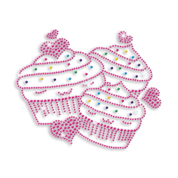 Colorful Pretty Cupcakes with Hearts Iron-on Rhinestone Transfer