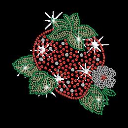 Crystal Flower & Sweet Strawberry Iron on Rhinestone Transfer
