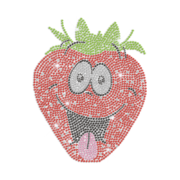 Funny Strawberry Face Iron on Rhinestone Transfer