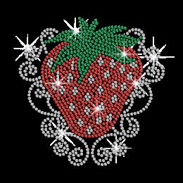 Cute Red Strawberry Hotfix Rhinestone Motif