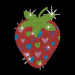 Lovely Strawberry & Hearts Pattern Iron on Rhinestone Transfer Decal