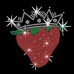 Red Strawberry in Crown Iron on Rhinestone Transfer
