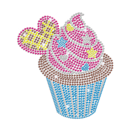 Sweet cupcake with star and heart shapes decoration custom rhinestone transfer