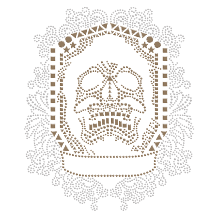 Horrible Skull in Shield Frame Design Iron on Rhinestone Transfer
