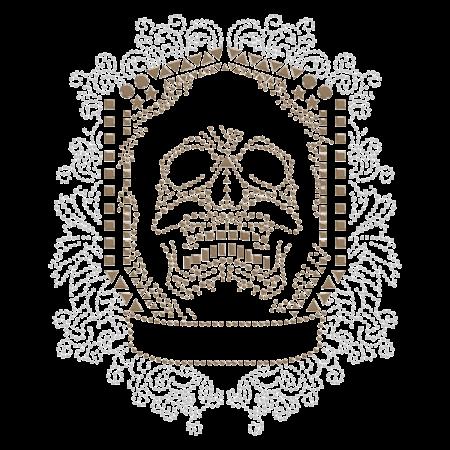 Horrible Skull in Shield Frame Design Iron on Rhinestone Transfer