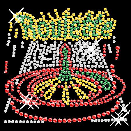 Iron on Bling Casino Roulette Rhinestone Motif