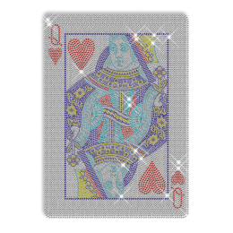 Playing Cards Queen Heart Rhinestone Hotfix Transfer