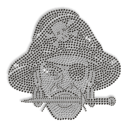 Wholesale Shinning Black Hat Pirate Rhinestone Iron on Transfer Design for Shirts