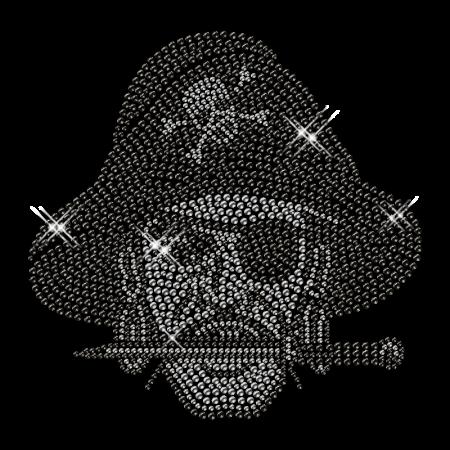 Wholesale Shinning Black Hat Pirate Rhinestone Iron on Transfer Design for Shirts