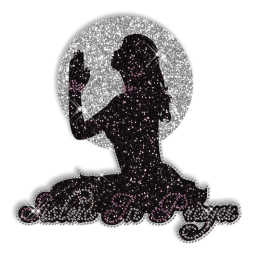 Shining Sisters in Prayer Rhinestone Iron on Transfer Design for Clothes