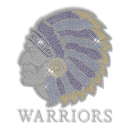 Sparkling Warriors Head Rhinestone and Glitter Iron on Transfer Pattern for Shirts