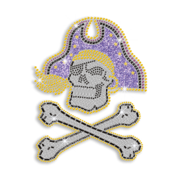 Custom Cool Pirate Skull Rhinestone Glitter Nailhead Iron on Transfer