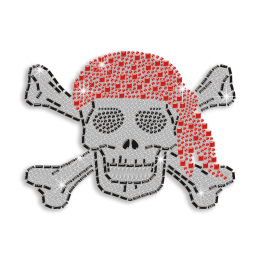 Custom Pirate Skull Rhinestone Nailhead Iron on Transfer