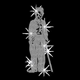 A Full-Length portrait of Chaplin Iron on Rhinestone Transfer