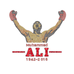 Boxing Champion Muhammad ALI 1942-2016 Rhinestone Glitter Iron On