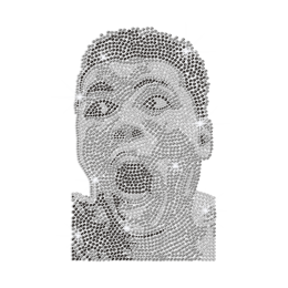 Homemade Portrait of Muhammad ALI Iron on Rhinestone Transfer Motif