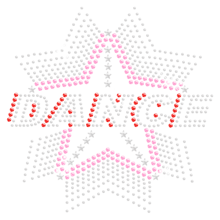 Iron on Stone Shining Star Dance Rhinestone Transfer