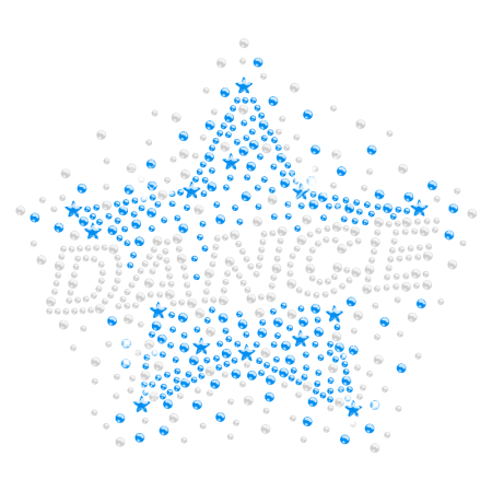 Teal Blue Sparkling Hotfix Star Dance Rhinestone Desgin